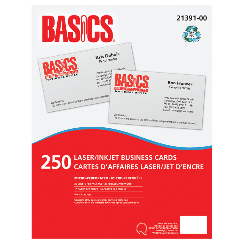 BUSINESS CARD BASICS 250/PKG - 21391-00 - 21391-00 - Fournitures de ...